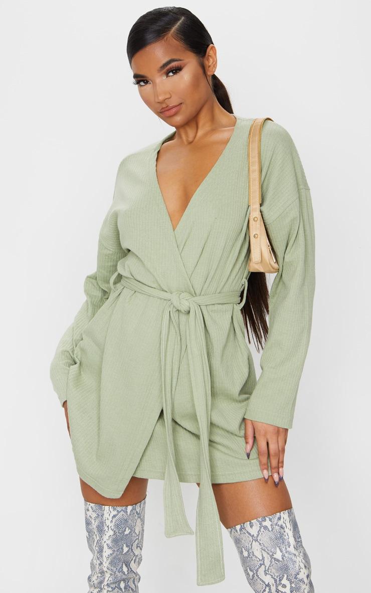 Sage Green Heavy Rib Long Sleeve Wrap Front Shift Dress 1