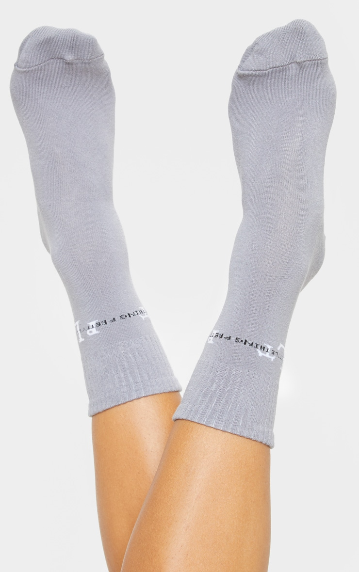 PRETTYLITTLETHING Grey Sports Socks 2