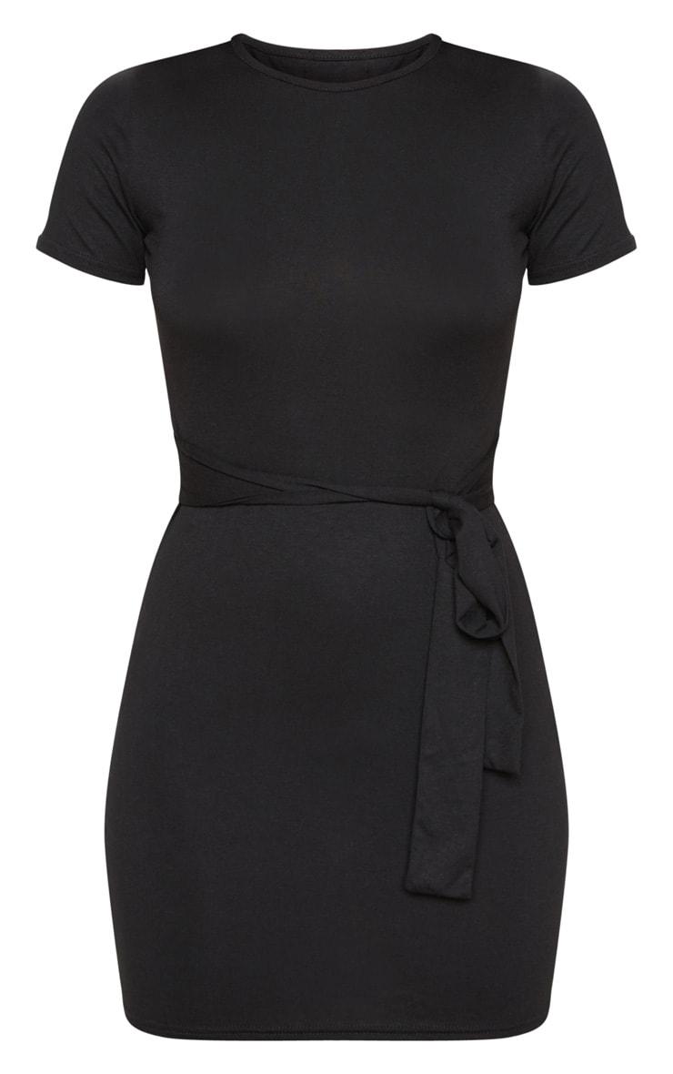 Black T Shirt Tie Waist Dress 5