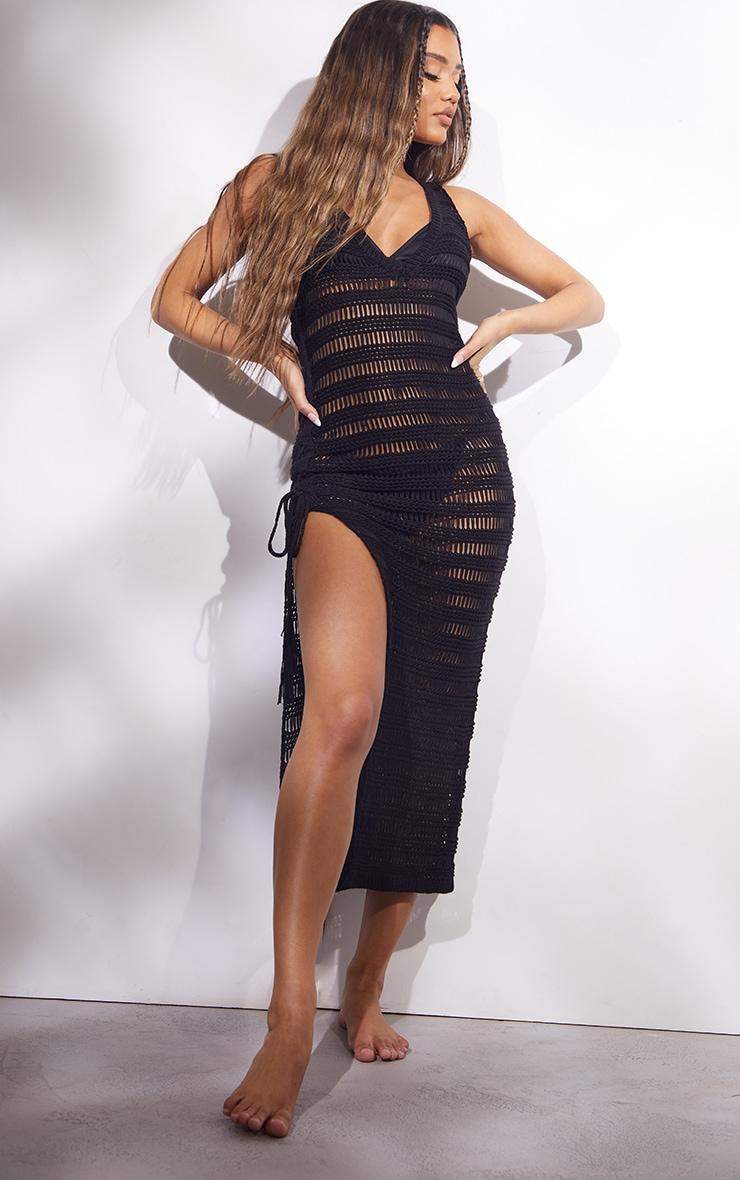 Black Open Stitch Lace Up Side Knitted Midi Dress 1