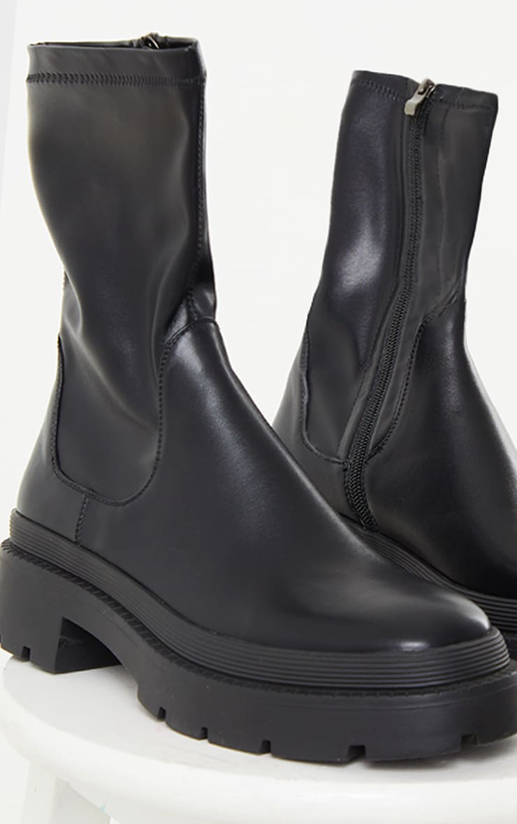 Black PU Ribbed Detail Chunky Sole Sock Ankle Boots 3