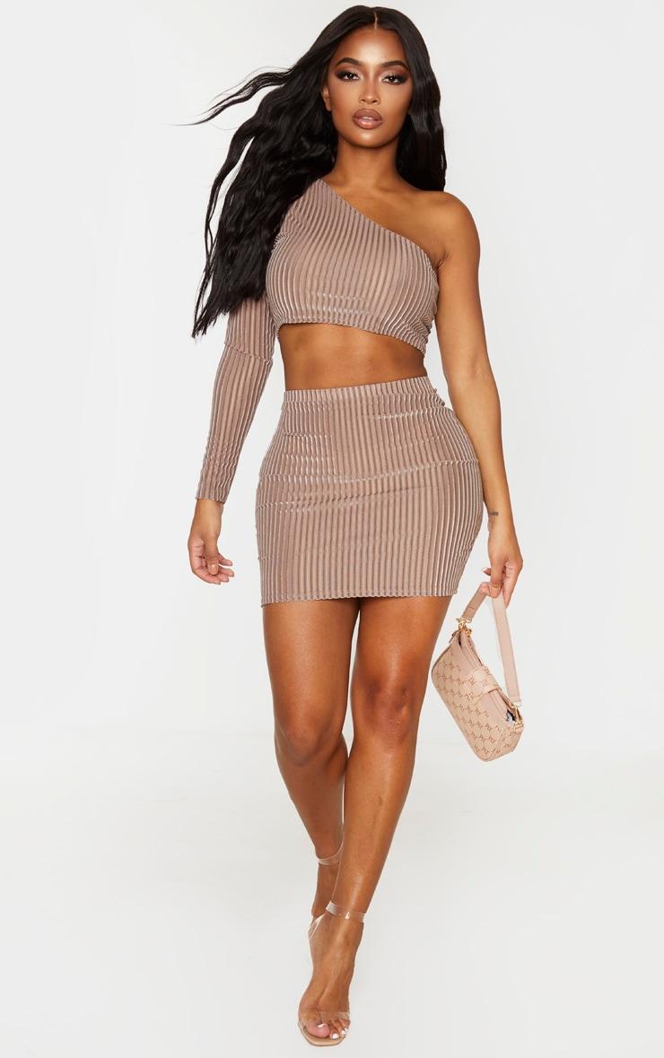 Shape Mocha Striped Velvet Bodycon Skirt 5
