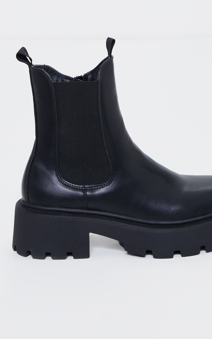 Black Wide Fit Chunky Chelsea Biker Boots 4