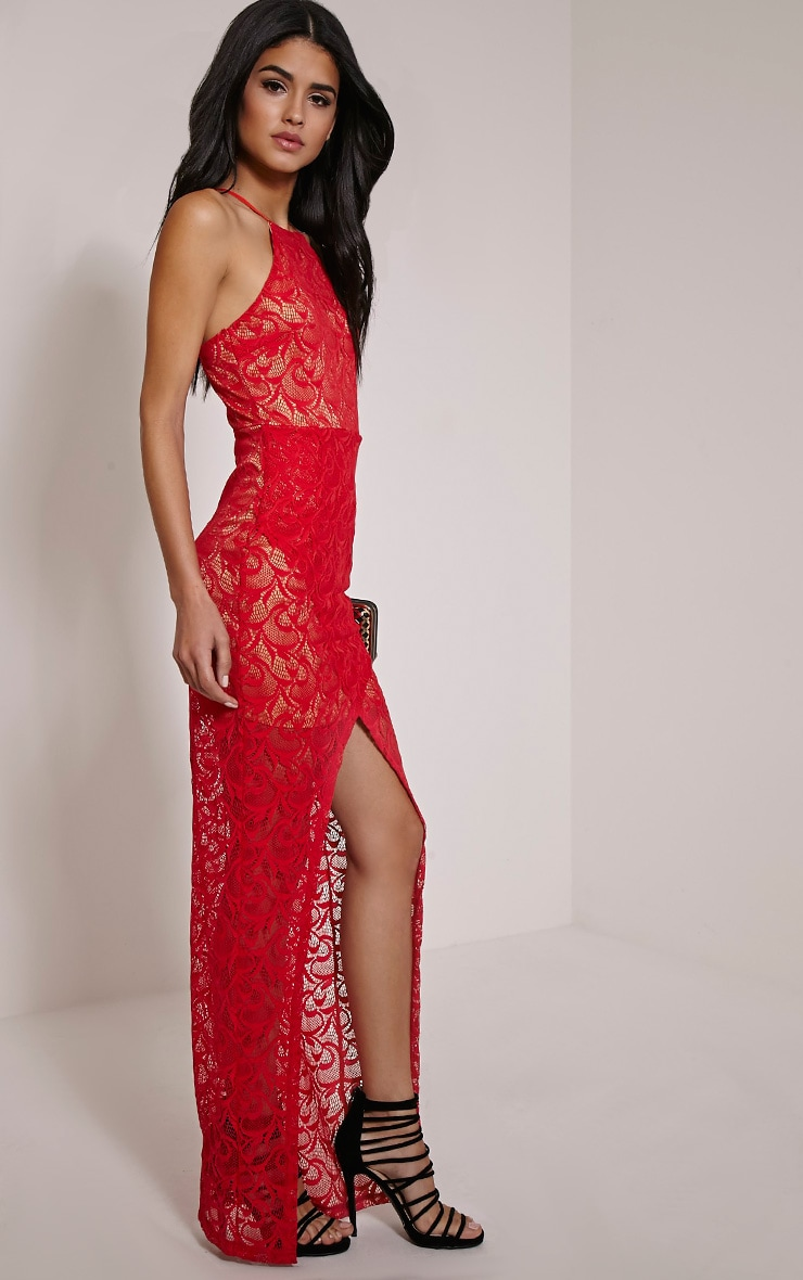 Dianie Red Lace Maxi Dress 3