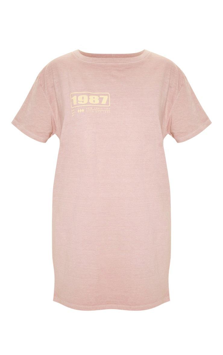 Taupe Transmission Back Slogan Washed T Shirt Dress 3