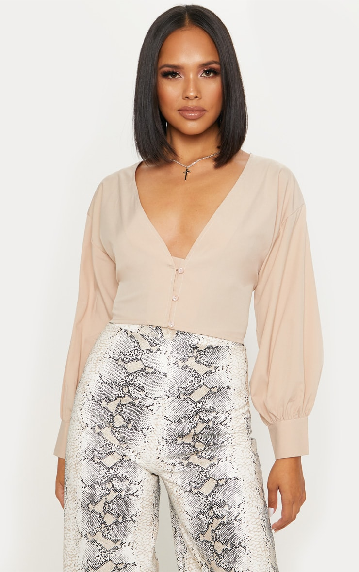 Stone V Neck Crop Blouse