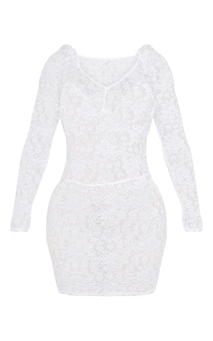 Shape White Lace Long Sleeve Bodycon Dress 3