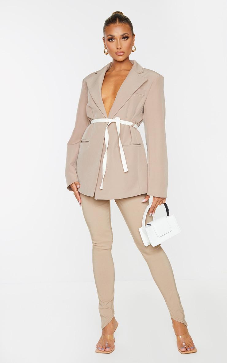 Beige Oversized Contrast Belted Blazer 1