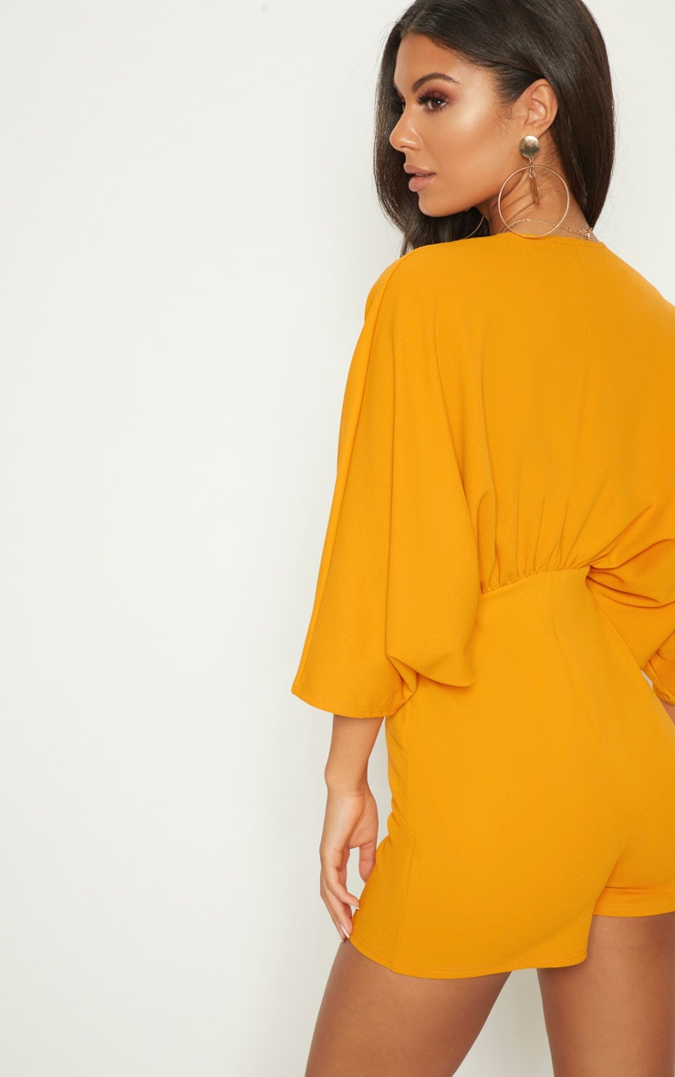 Mustard Crepe Batwing Cut Out Romper 2