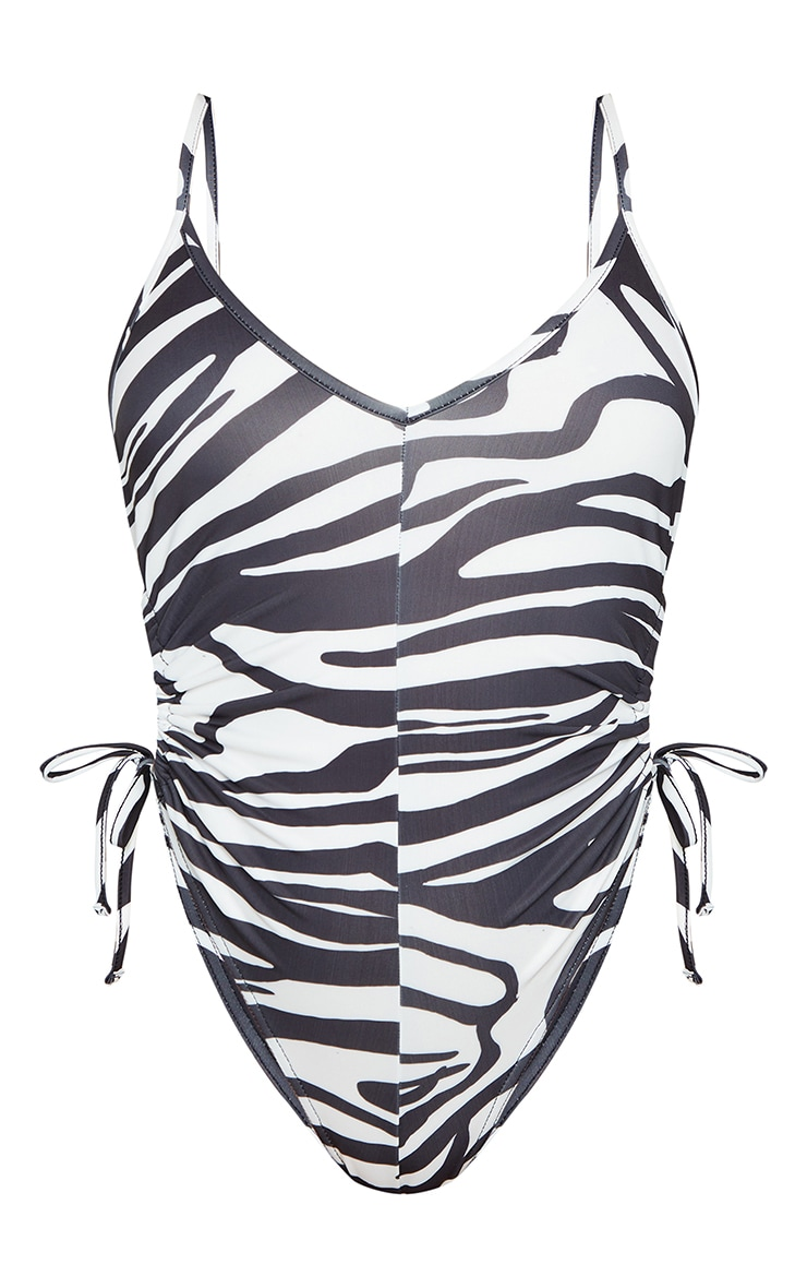 Monochrome Cut Out Ruched Swimsuit 5