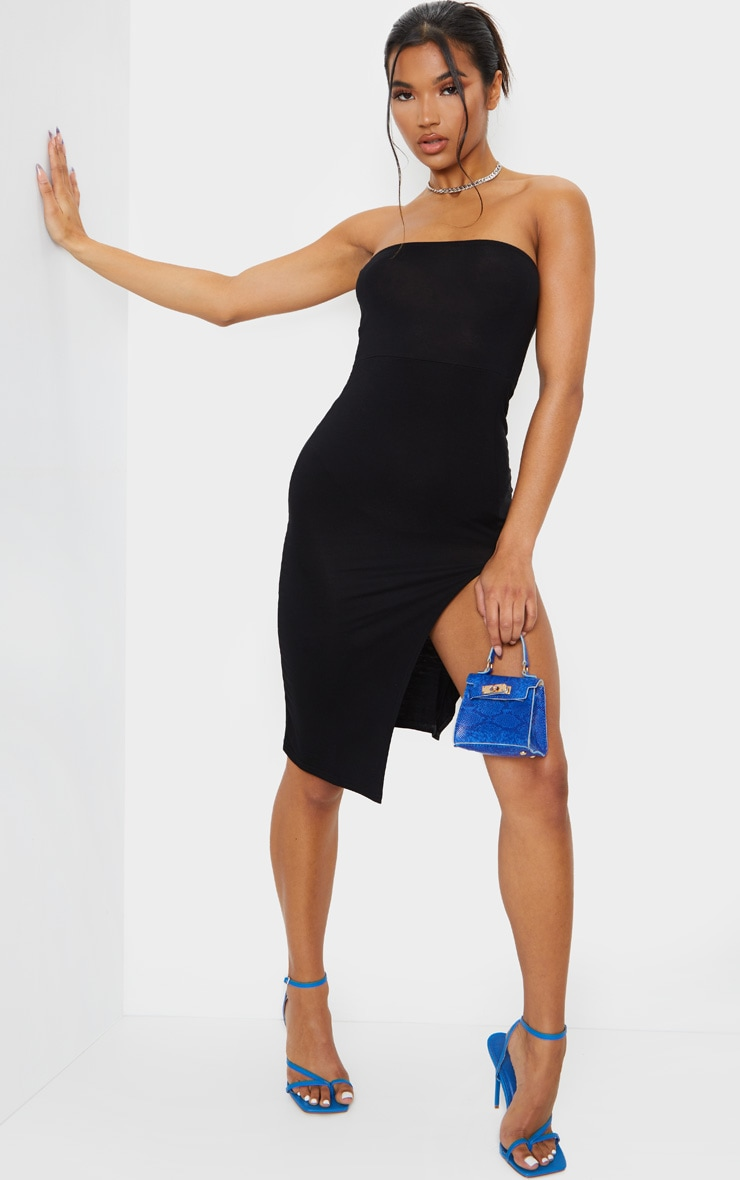 Black Bandeau Split Front Midi Dress 1