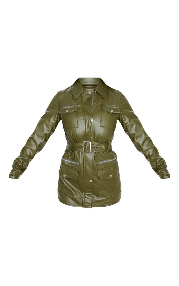Khaki PU Utility Belted Pocket Jacket 3