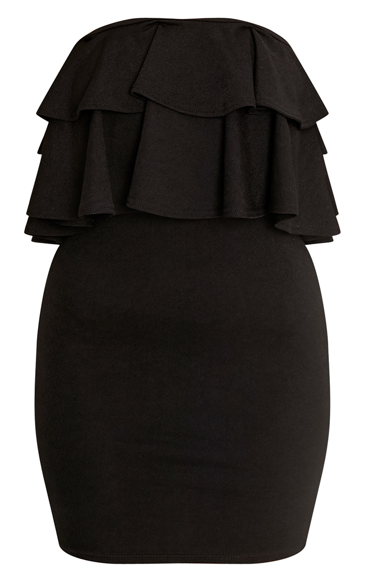 Fleur Black Double Frill Bandeau Bodycon Dress 3