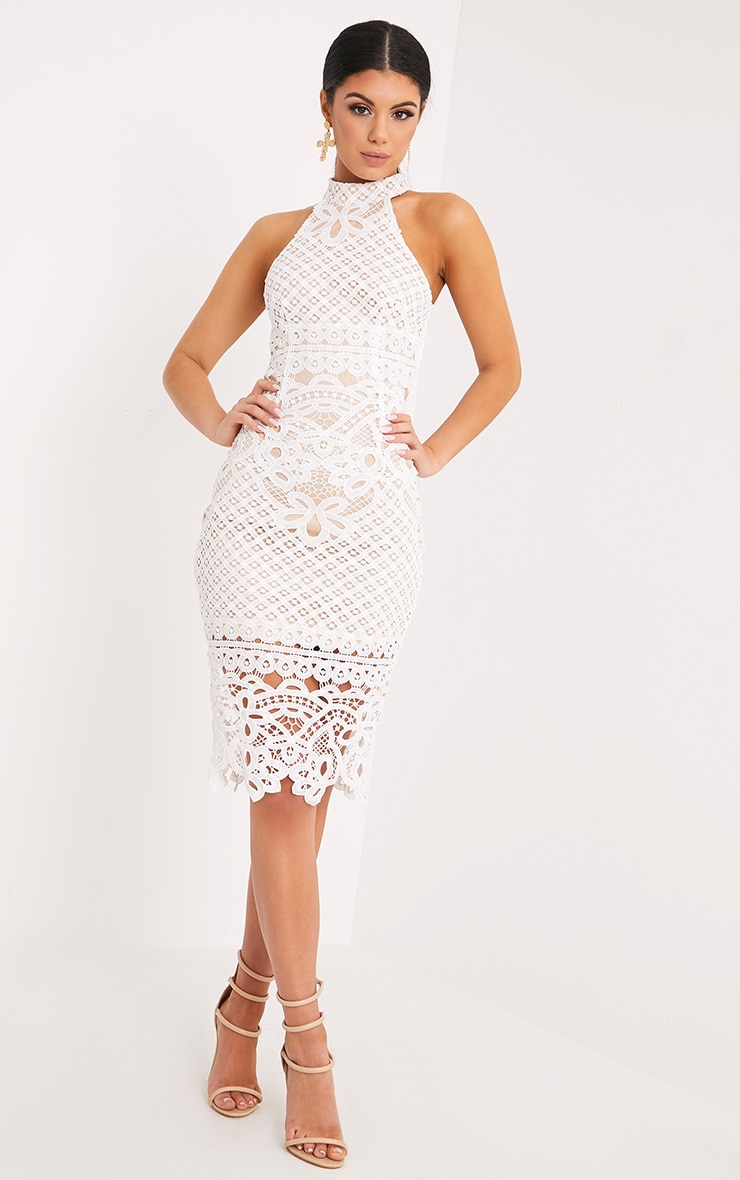 Hanny White Crochet Midi Dress 4