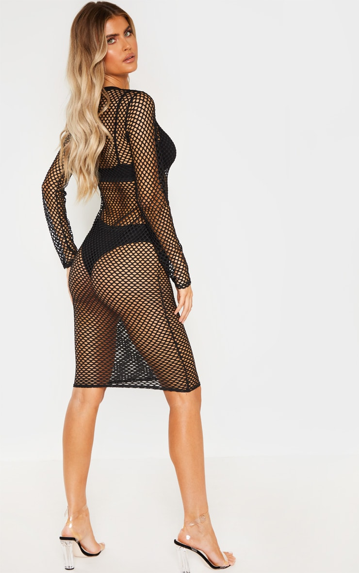 Tall Black Fishnet Mesh Long Sleeve Midi Dress 3