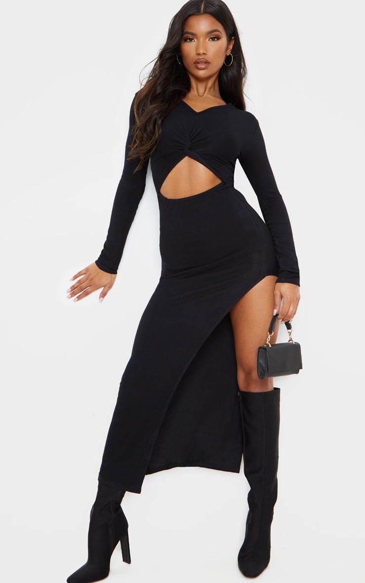 Black Soft Rib Knot Front Cut Out Split Midi Dress 1