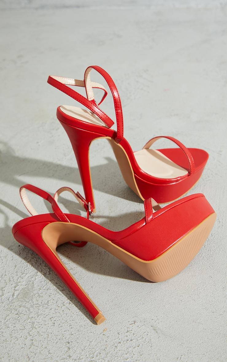 Red PU Platform Strappy High Heels 4