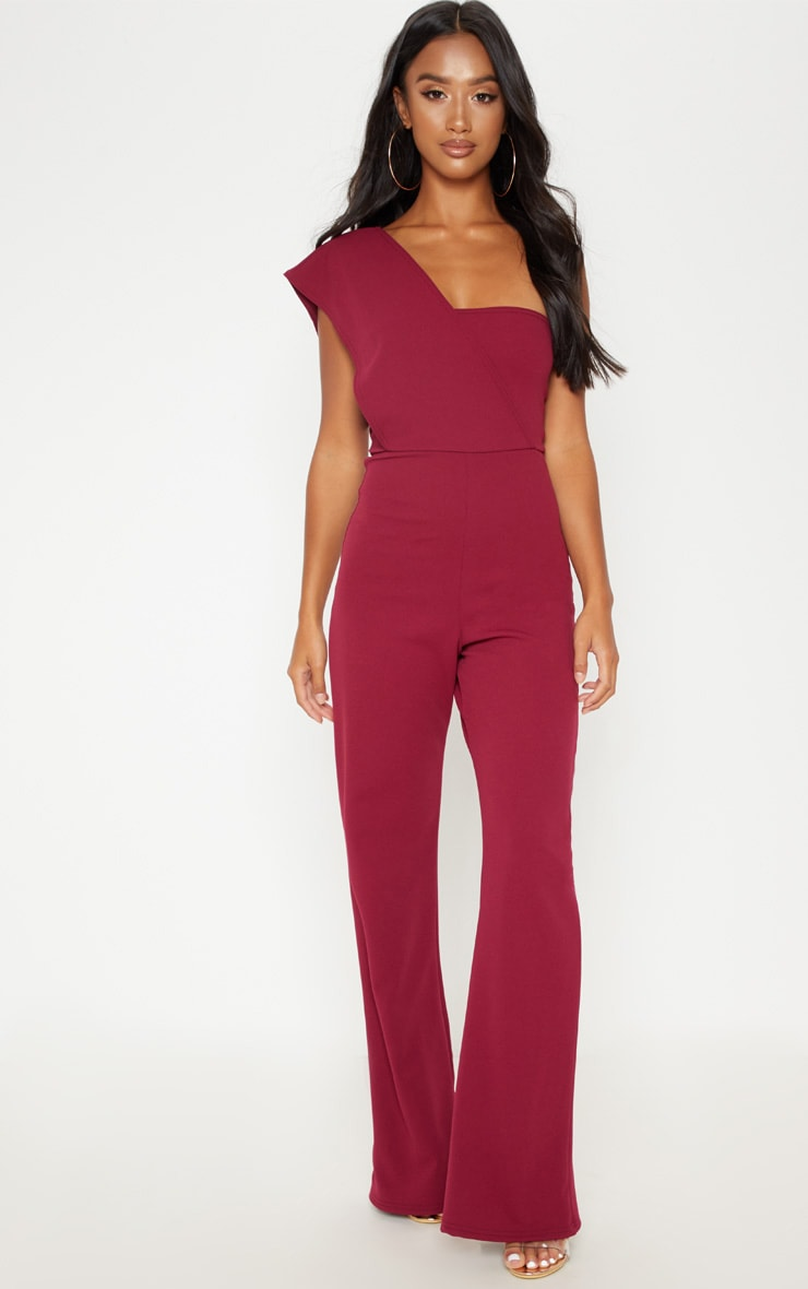 Petite Burgundy  Drape One Shoulder Jumpsuit 4