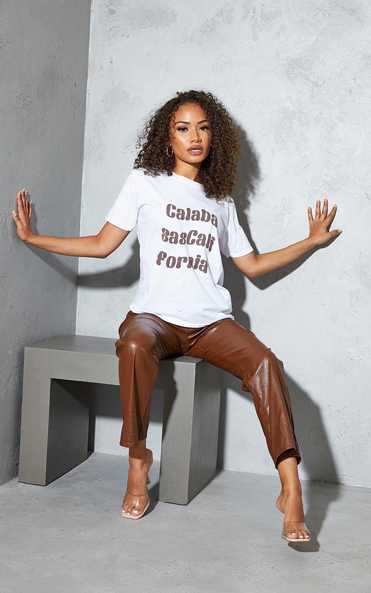 Petite White Calabasas California Slogan T Shirt 3