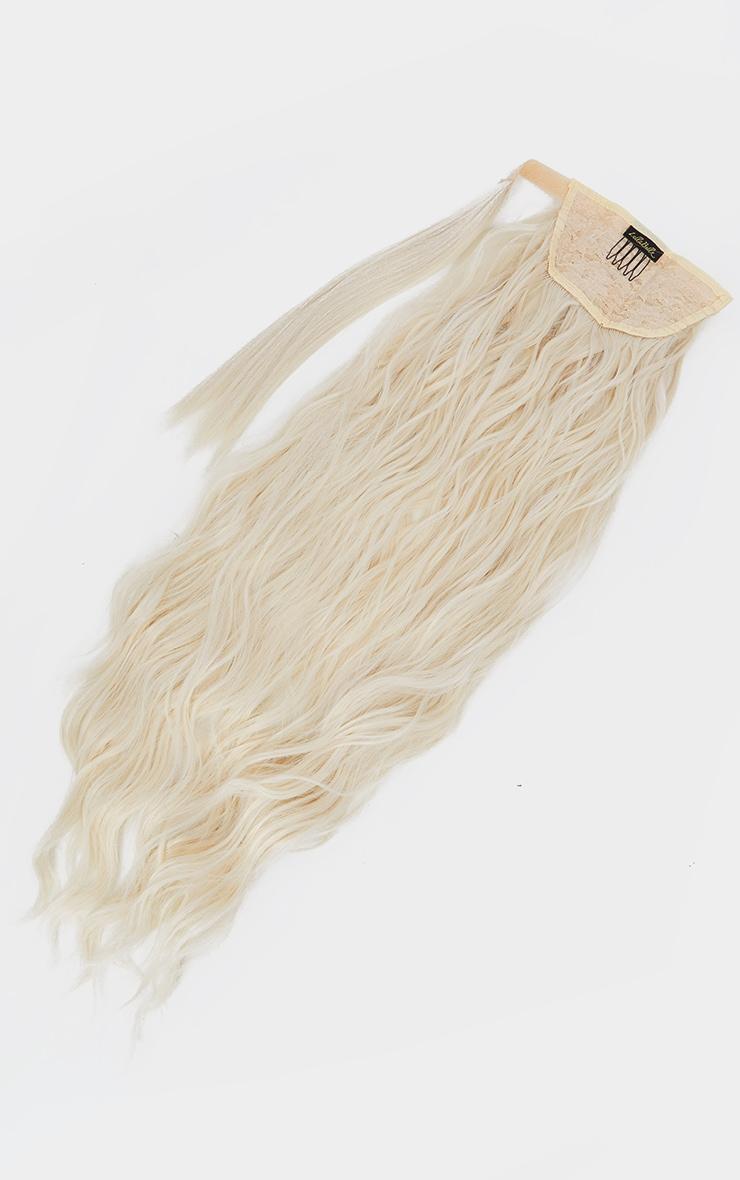 LullaBellz Grande Lengths 26 Textured Wave Wraparound Pony Light Blonde 5