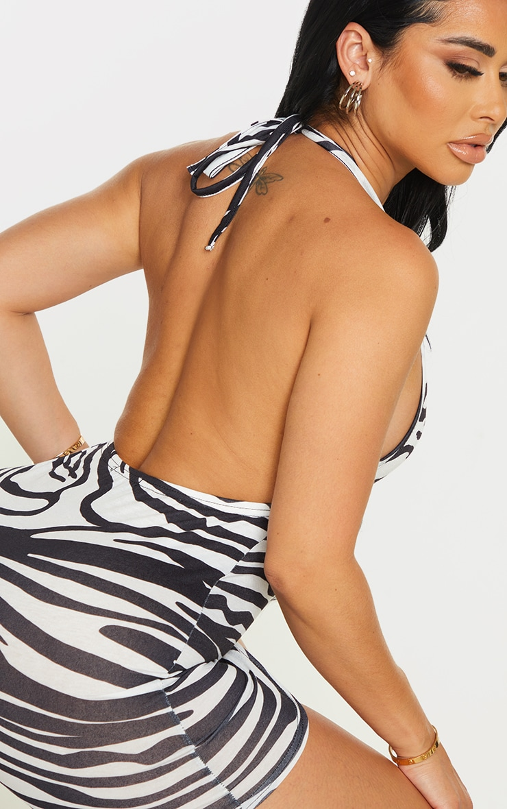 Shape White Zebra Print Jersey Halterneck Bodycon Dress 4