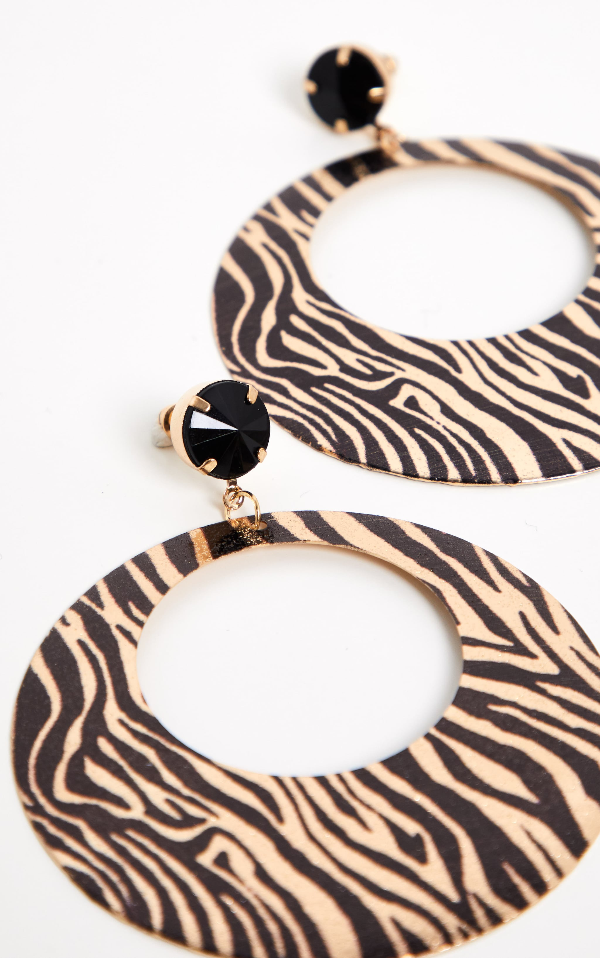 Gold Zebra Print Disc Drop Hoop Earrings 3