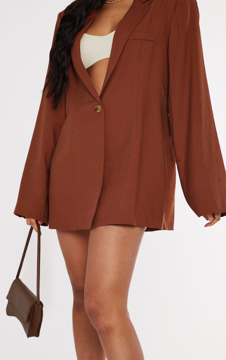 Chocolate Floaty Cinch Waist Shoulder Padded Longline Blazer 4