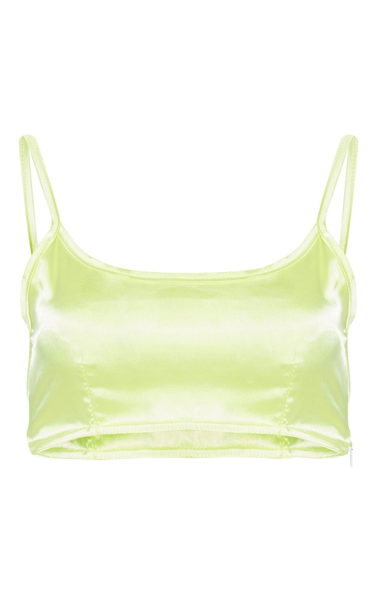 Lime Satin Crop Top 3
