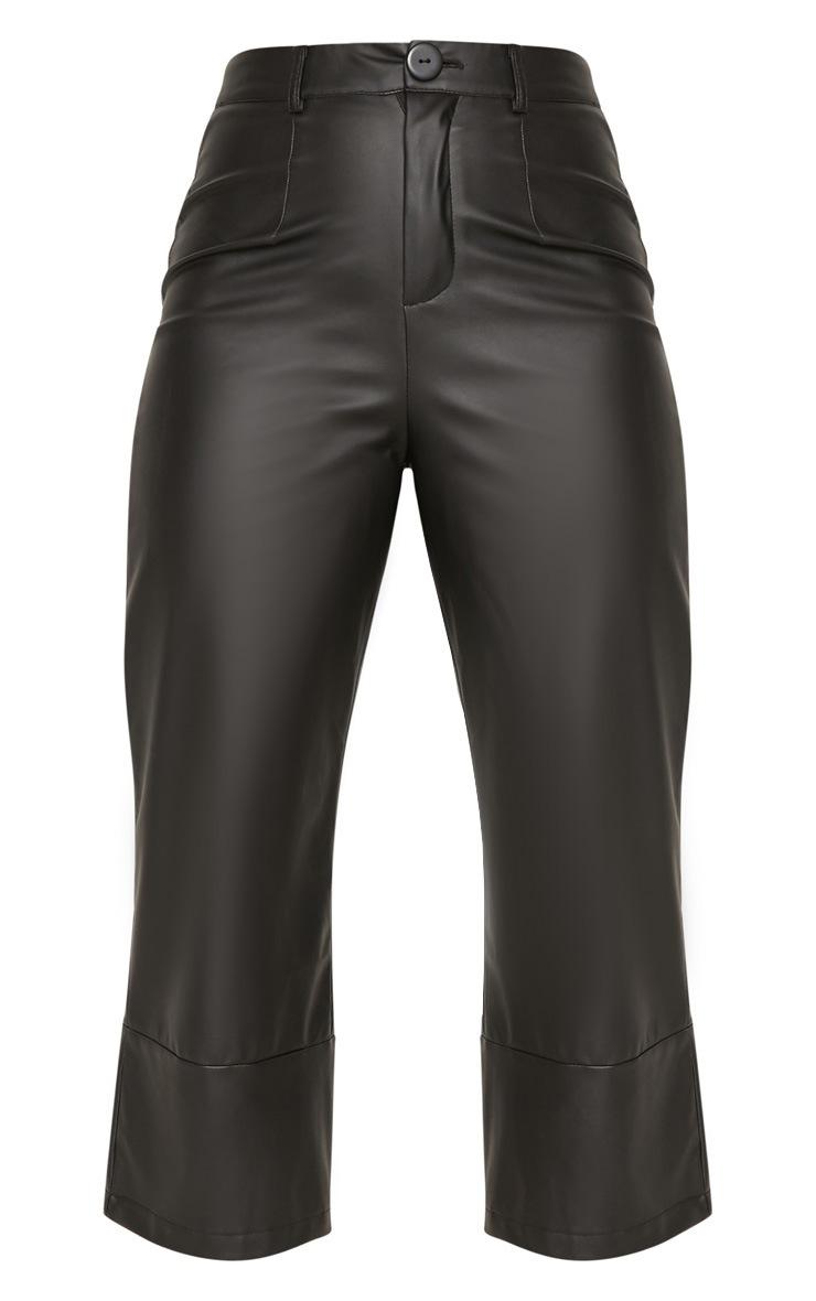Black Faux Leather Culotte 3