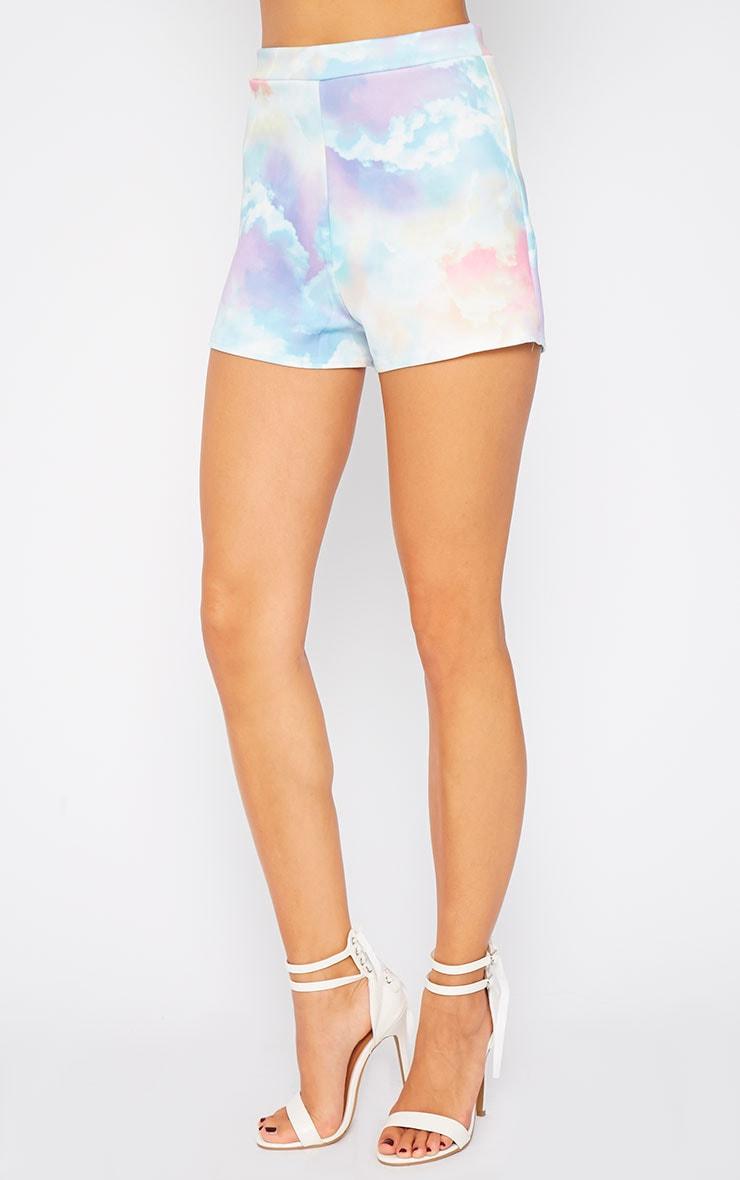 Xena Cloud Print Loose Fit Mini Shorts 3