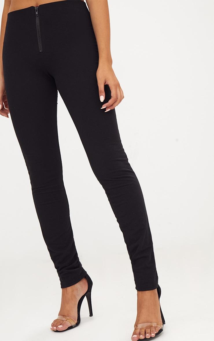Black Zip Front Track Leggings  5