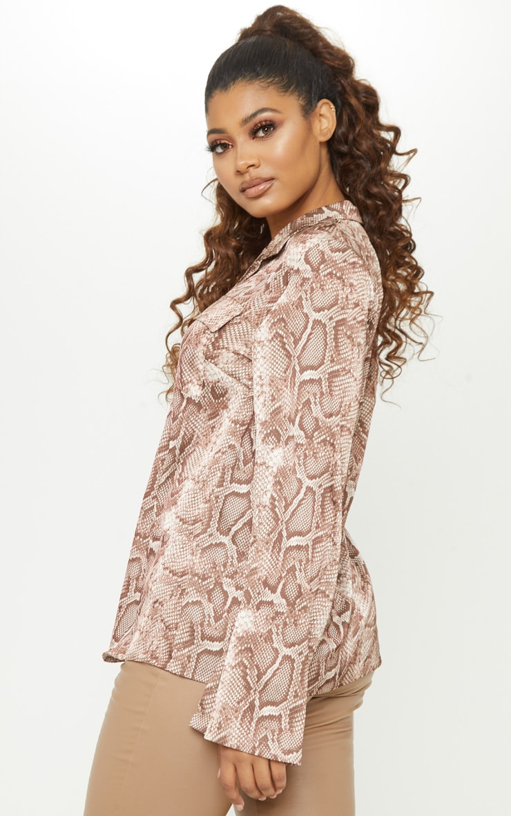 Tall Brown Satin Snake Print Pocket Detail Shirt 2