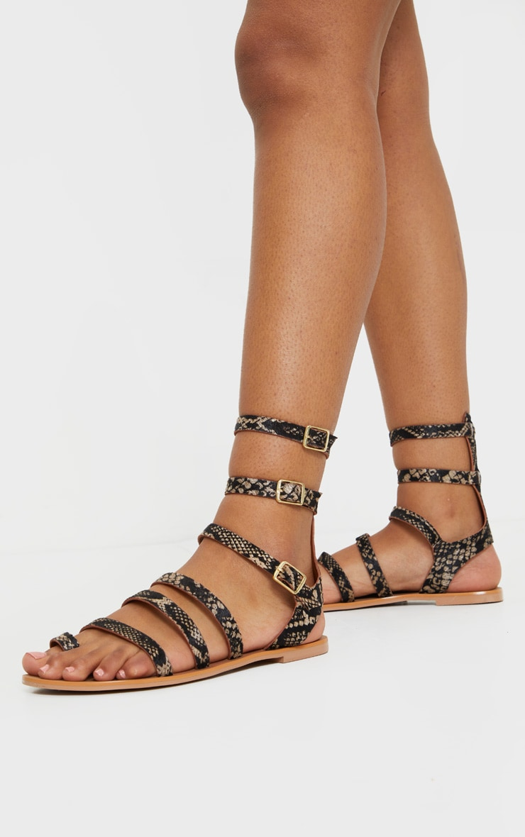 Snake Print Gladiator Ankle Strap Sandals 1