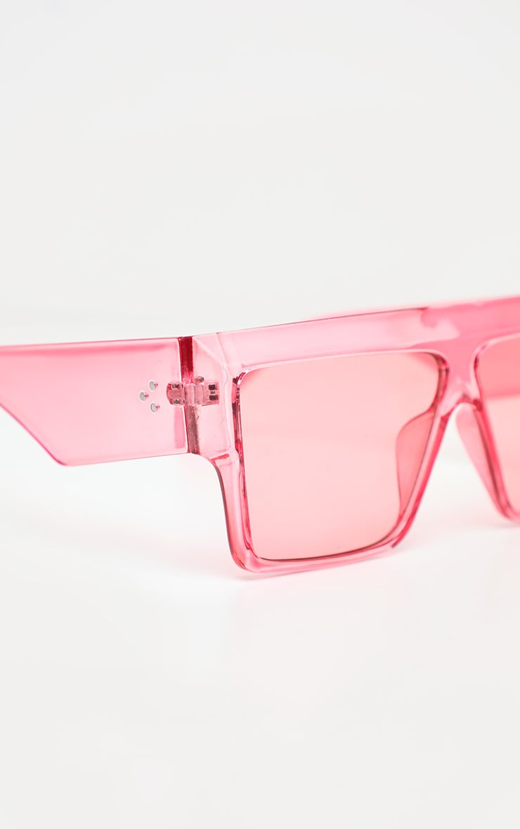 Pink Fade Oversized Transparent Square Sunglasses 3