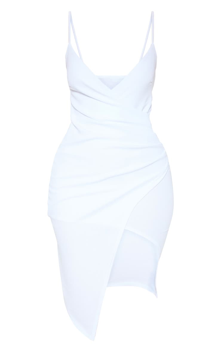 Lauriell White Wrap Front Crepe Midi Dress 3
