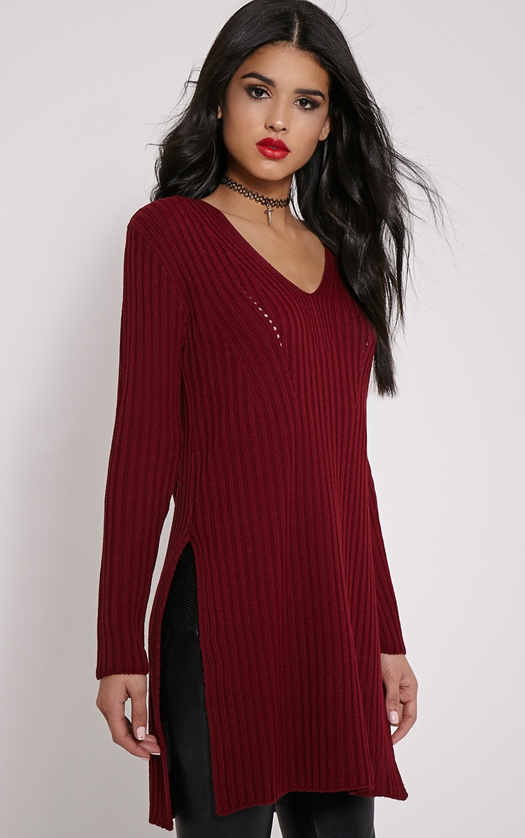 Basil Wine V Neck Longline Side Split Jumper 1
