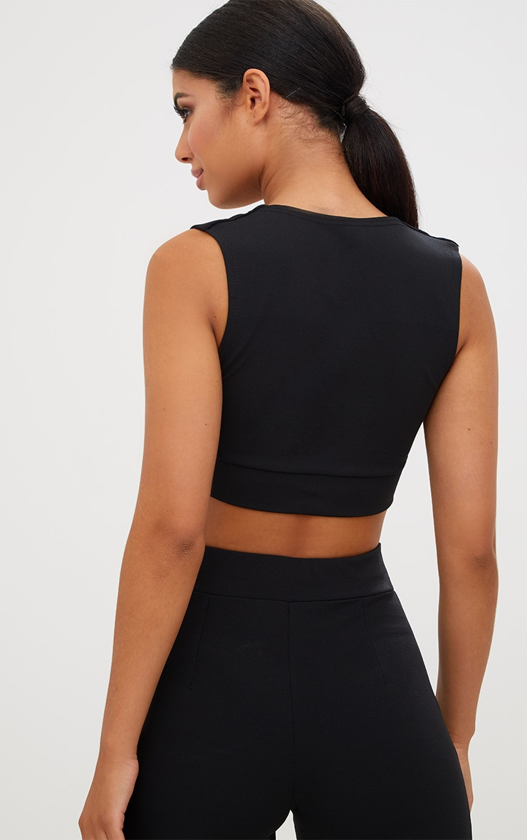 Black Cut Out Trim Detail Crop Top 3