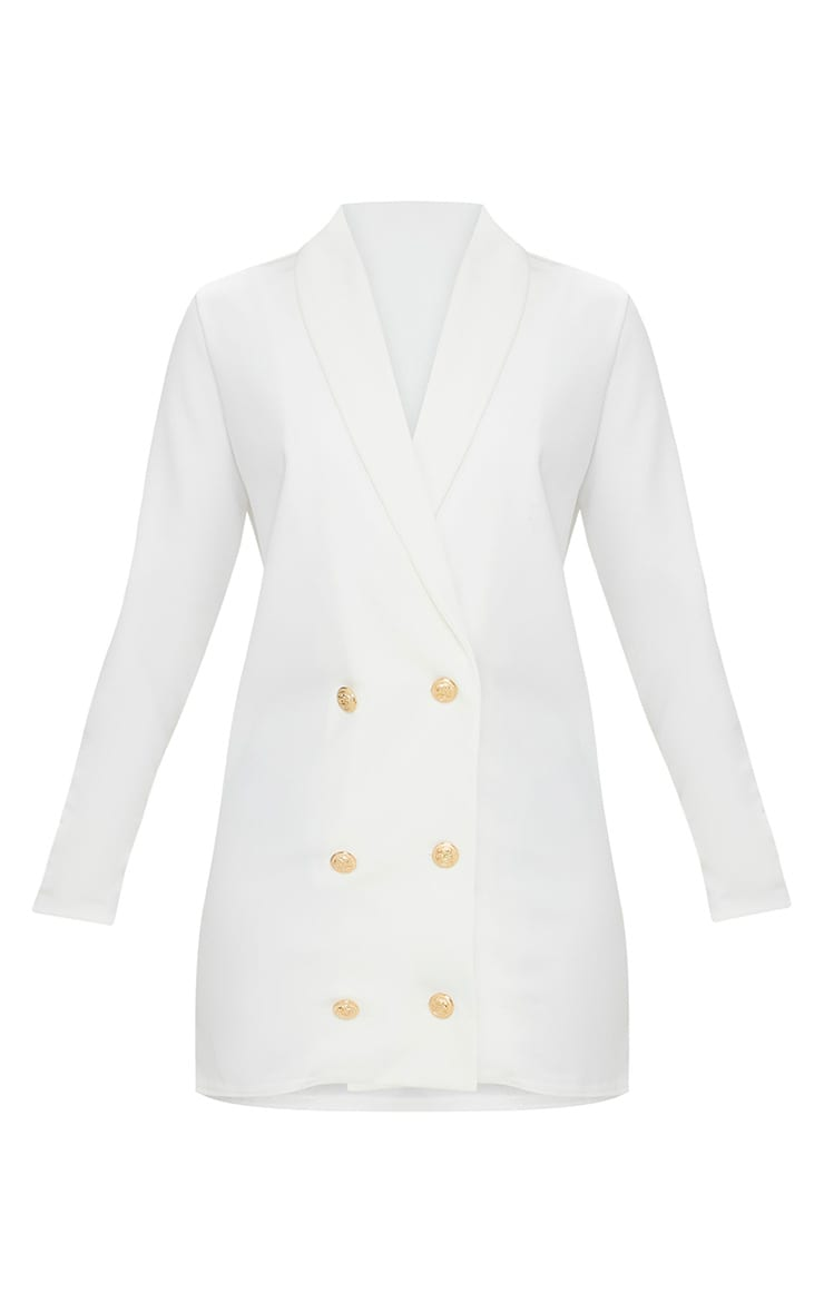 Petite White Gold Button Blazer Dress 3