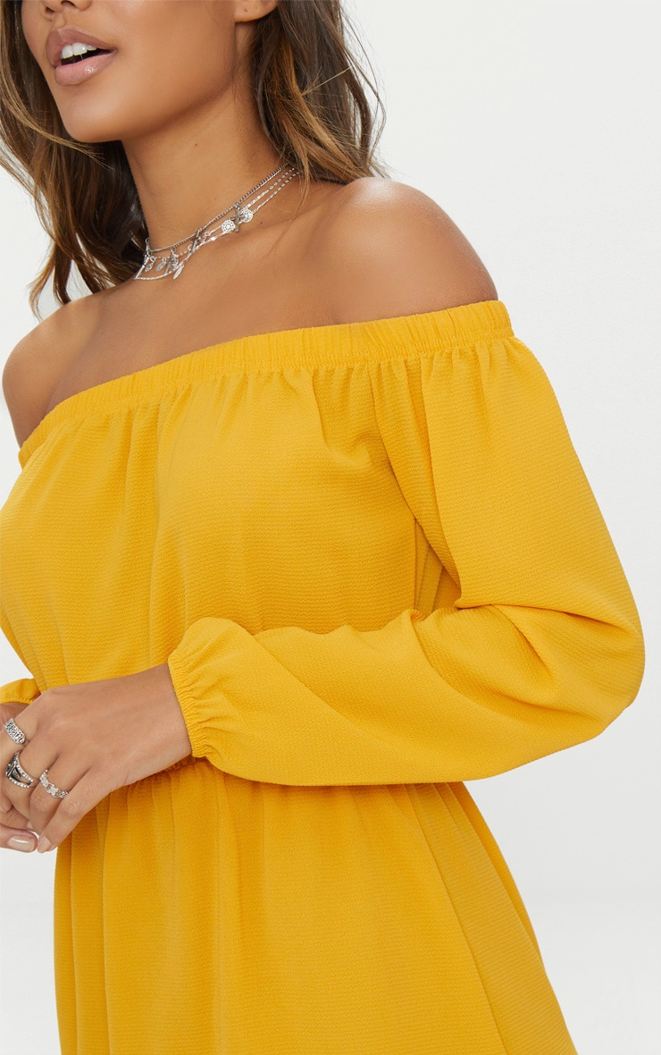 Mustard Bardot Puff Sleeve Skater Dress 5