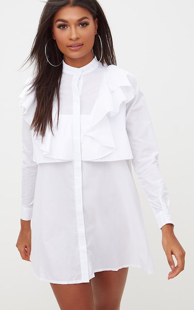 aa8b8985109 Flora White Frill Front Shirt Dress