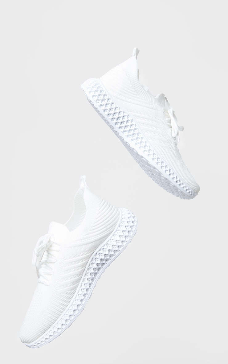 White Knitted Lace Up Sneakers 4