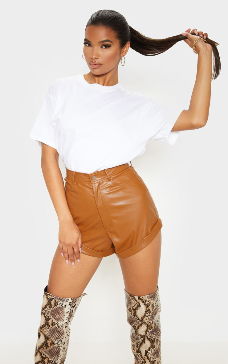 Chesnut Faux Leather Turn Up Hem Short