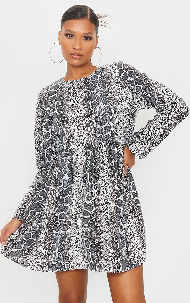 Grey Snake Print Long Sleeve Smock Dress 1