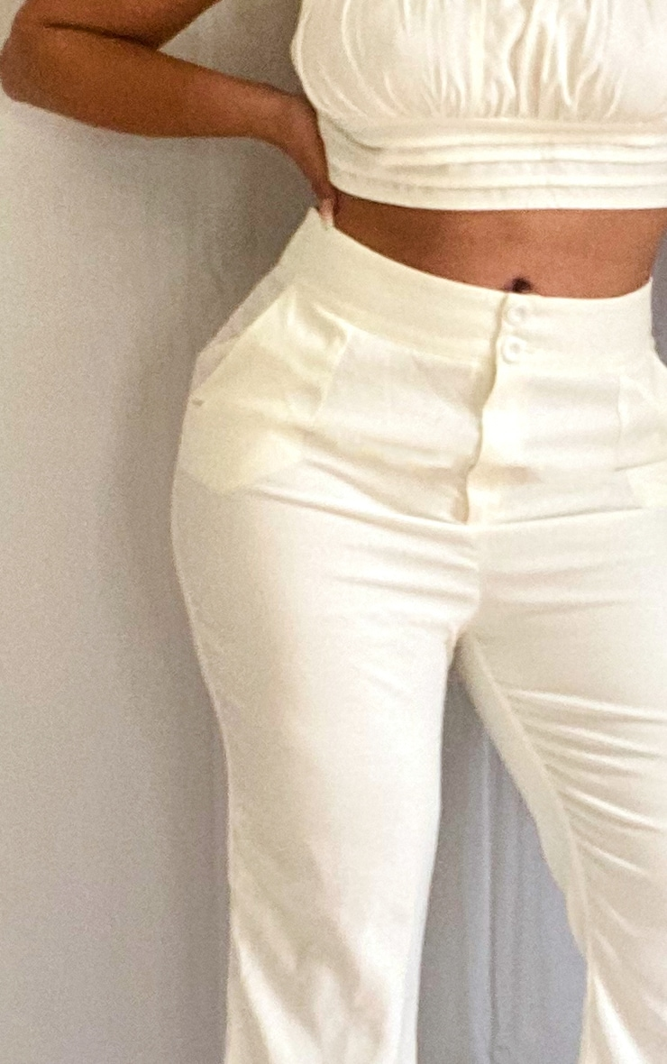 Plus White High Waisted Double Button Waist Flare 4