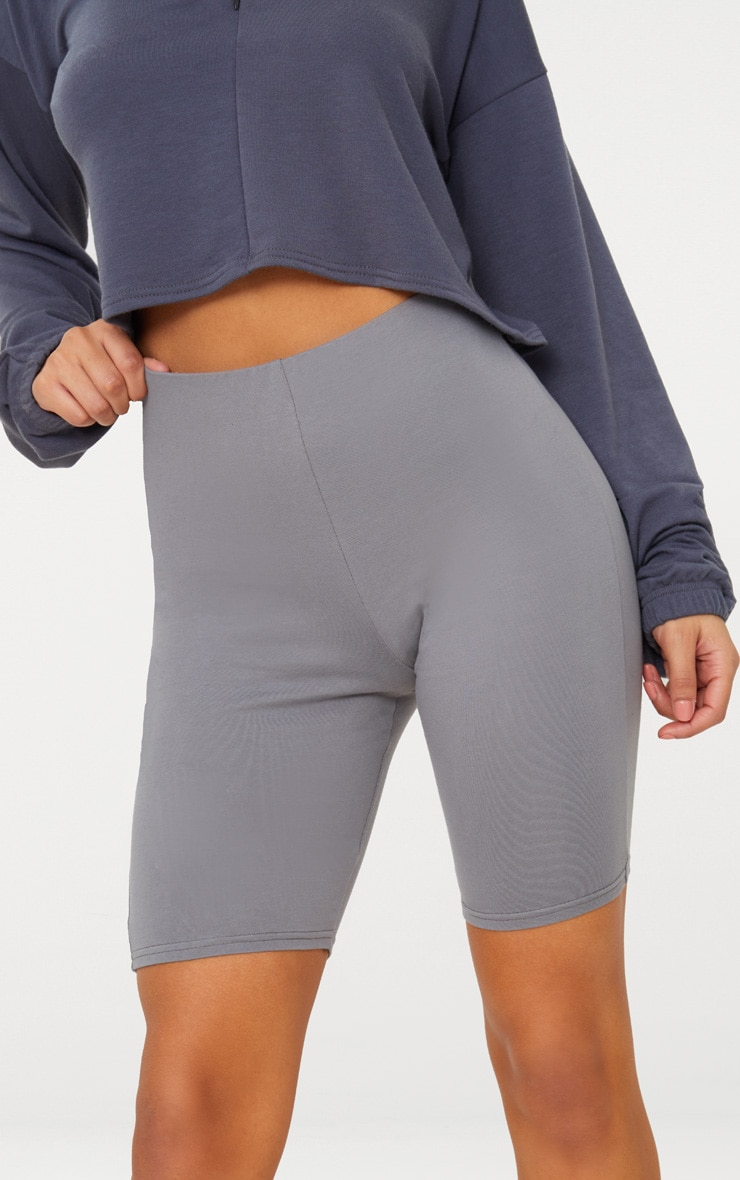 Charcoal Grey Cotton Stretch Cycling Shorts  7