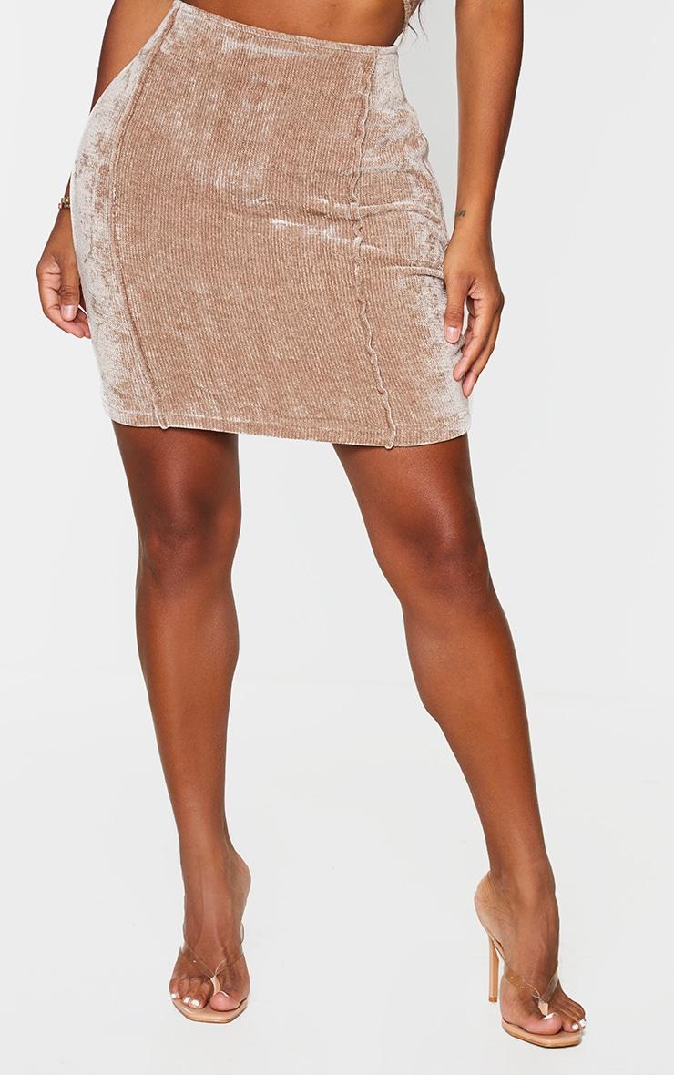 Shape Brown Rib Velour Seam Detail Bodycon Skirt 2