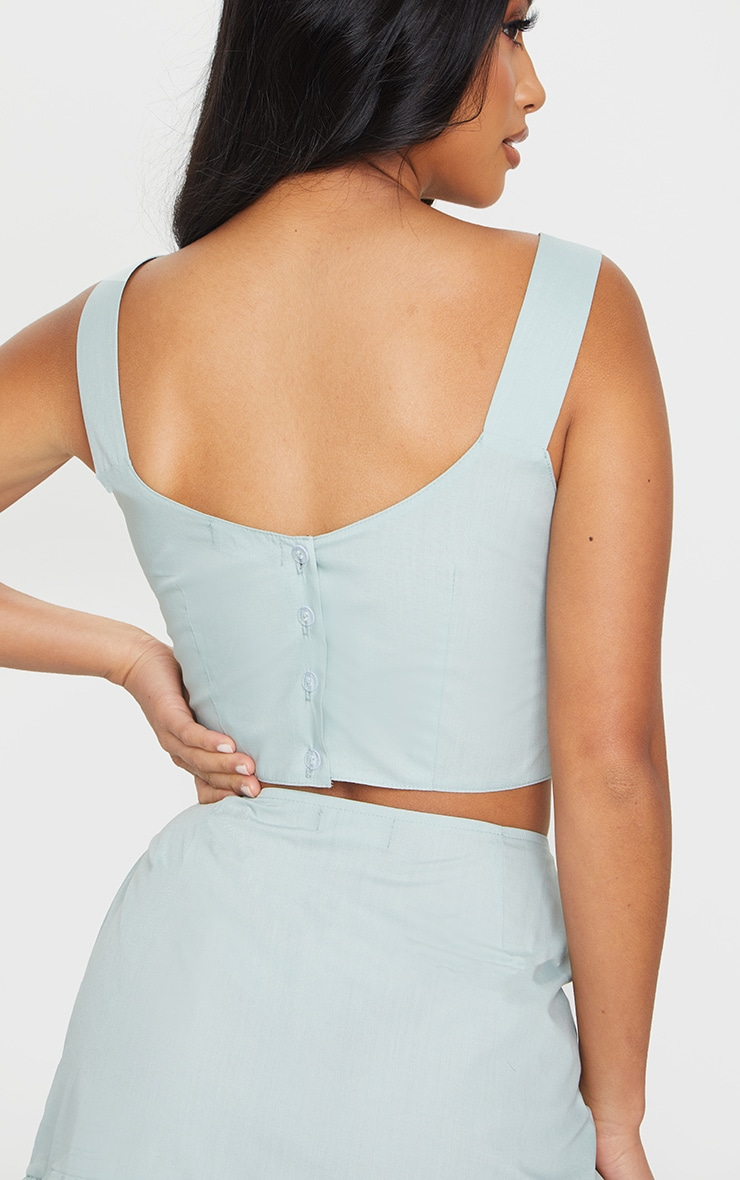 Petite Sage Green Button Back Strappy Crop Top 4