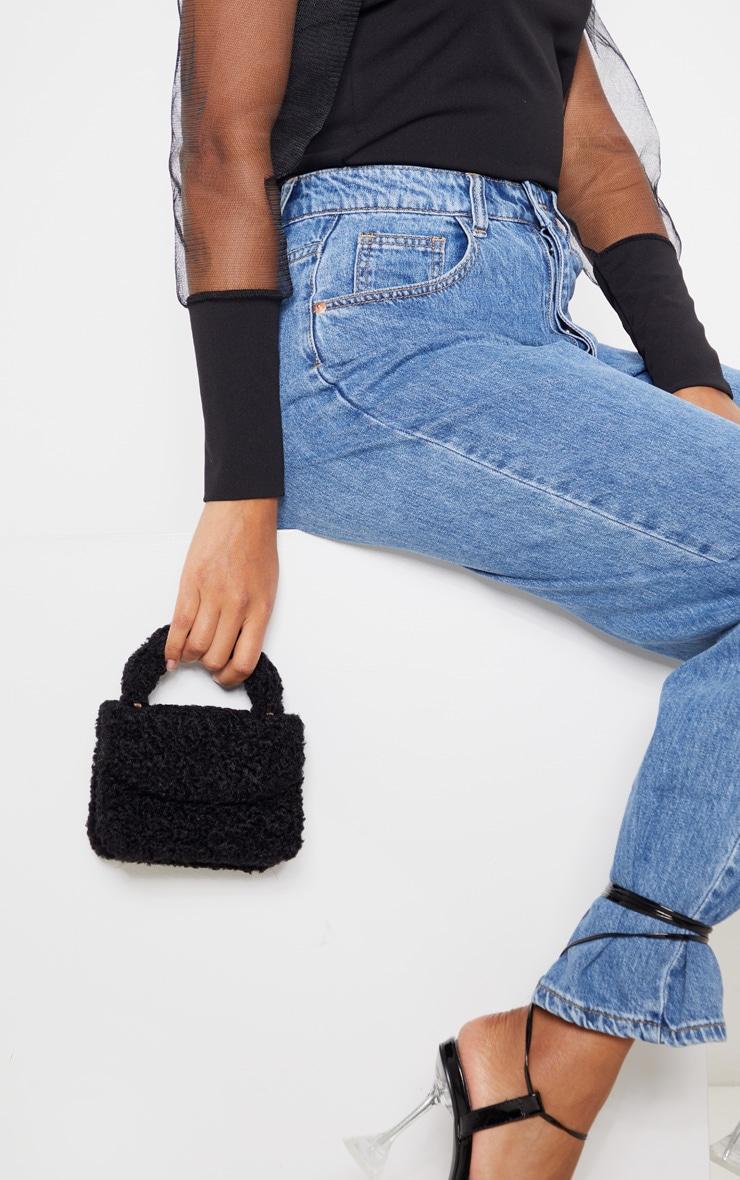 Black Faux Shearling Mini Grab Bag  1