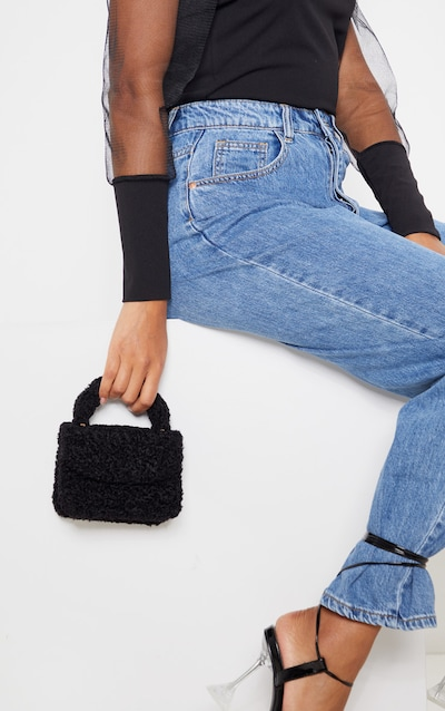 Black Faux Shearling Mini Grab Bag