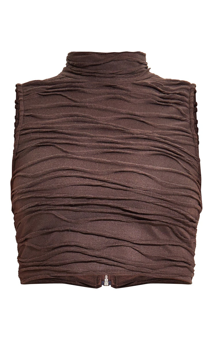Brown Pleated Jersey High Neck Sleeveless Crop Top 5